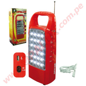620-AM Lámpara Recargable de 24LED con Radio y cargador USB